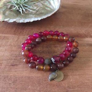 Pink and brown stretch bracelet set